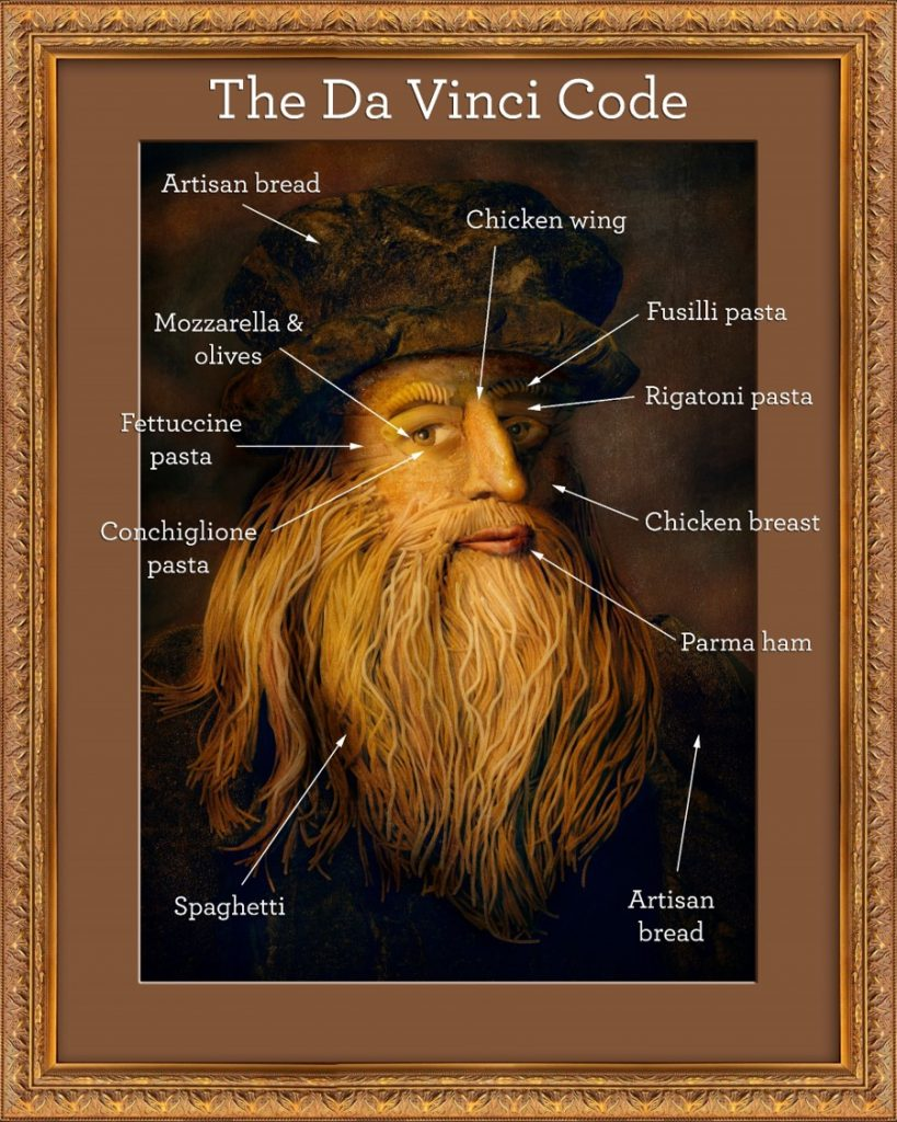 Leonardo da Vinci's famous self-portrait made out of Italian ingredients